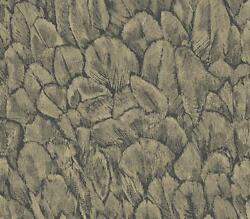 1804-119-01 - Aurora Feathers Plumage Metallic Gold Black 1838 Wallpaper