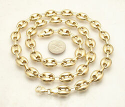 11mm Puffed Mariner Anchor Link Chain Necklace Real 14k Yellow Gold