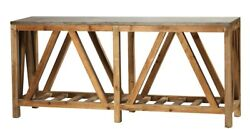 71 L Console Table Hand Crafted Reclaimed Old Wood Polished Blue Stone Top