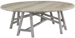 52 Dia. Coffee Table Hand Made And Finished Reclaimed Old Wood Trestle Base