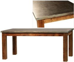71 L Satordi Dining Table Hand Crafted Hardwood Galvanized Metal Exposed Nails