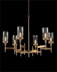 37 Dia. Chandelier Brass Plated Metal Ribbed Uplight Artisan Glass Globes