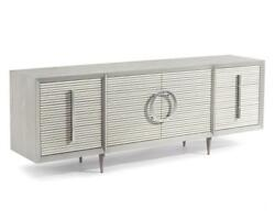 84 W Cabinet Reeded Front Six Drawers Two Doors Single Adjustable Shelf