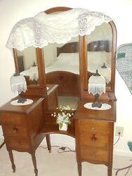 Three Piece Dark Brown Antique Bedroom Set With Period Bedding And Stool