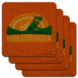 Gumby Stretching That's A Stretch Exercise Low Profile Novelty Cork Coaster Set