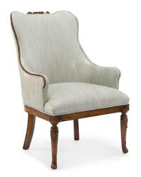 28 W Occasional Chair Hand Crafted Hardwood Fabric Seat Carved Legs And Accents