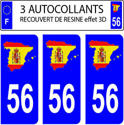 3 Stickers Car Registration Plate Doming 3d Resin Spain Flag No. 56