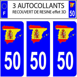 3 Stickers Car Registration Plate Doming 3d Resin Spain Flag No. 50