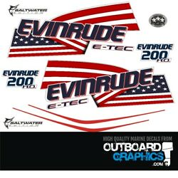 Evinrude 200hp Etec / E-tec Ho Outboard Engine Decals/sticker Kit - White Cowl