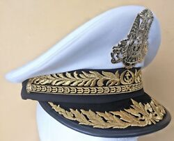 Cambodia Military Rcaf Naval Navy Admiral Officer White Dress Visor Hat Size 57