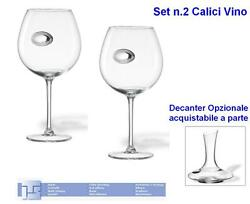 Set N.2 Goblets Wine Giant Cm.22h In Crystal With Oval Silver 925 6702