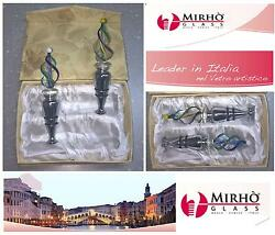 Favours Set N.2 Wine Stopper With Socket Glass Murano And Box Gift Re34