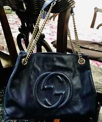 Authentic GUCCI 308982 Soho interlocking G tassel Chain Shoulder Bag