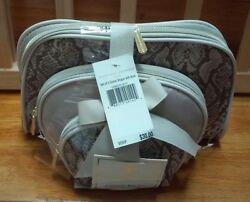 Adrienne Vittadini Set (3) Dome Shape Travel Cosmetic Makeup Bags with Bow NWT!