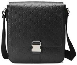 NEW GUCCI MEN'S BLACK GG LEATHER SMALL MESSENGER CROSSBODY SHOULDER BAG