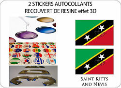 2 X Stickers Covered Resinated Wine Flag 3d Effect 70 Mm X Holy 50 Mm Christophe