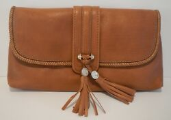 Gucci Camel Brown Leather Marrakech Foldover Clutch with Tassle 257030 NWT