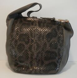 Gucci Grey Snake & Leather Greenwich Hobo Bag - Preloved Rtl $2200 Great Shape