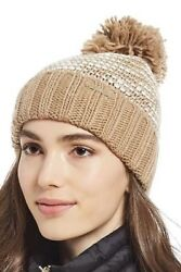 MICHAEL KORS CABLE KNIT BEANIE HAT CAMEL And WHITE WITH POM POM  $48