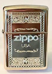 Zippo Windproof Brass Lighter With Frame Design And Zippo Logo 63920 New In Box