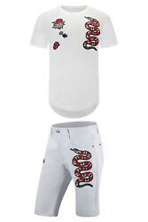 New Men White Patriot Snake Embodied Shorts Patches Stitch-On All Sizes