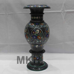 Mosaic Flower Vase Handicraft White Marble Inlay Art Vintage Pietra Dura Pot