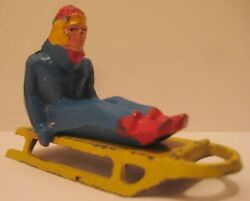 Old 2 Pc Metal Toy Winter Scene Figure Blonde Girl On Yellow Sled Barclay 1940