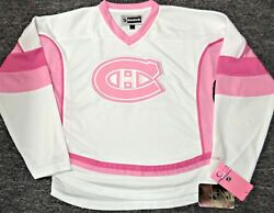Brand New Tag Montreal Canadiens Pink Xl-16 Youth/girls Reebok Hockey Jersey