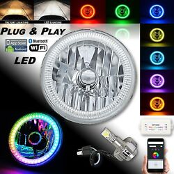 7 Motorcycle Bluetooth Rgb Smd Color Chasing Halo Headlight 360° Led Bulb Each