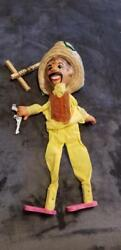 Vintage Mexican Marionette Puppet With Pistol And Straw Hat