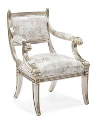 26 W Arm Chair Empire Style Transitional Silver Finished Wood Fabric Upholstery
