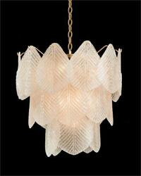 22 W Chandelier Three Tier Frosted Glass Etched Petals Antique Gold Leaf Frame