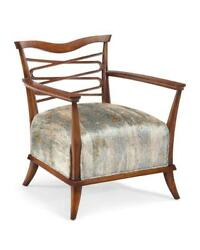 26 W Arm Chair Hand Crafted Hardwood Fabric Seat Contemporary Artisan Design