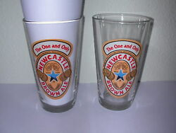 Newcastle Brown Ale Pint Beer Glasses Lot Of 2brewery Brewed Upon Tyne England