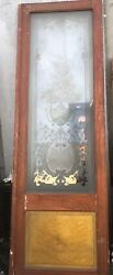 Art Deco Door French Style Etched Glass Old Parlor Door 98 X 30
