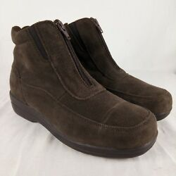 Totes Suede Boots Women Size 7 WIDE Brown Leather Zipper