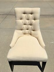 Restoration Hardware Martine Tufted Upholstered Fabric Arm Chairs Set Of Six