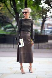 Women Fashion Natural Nappa Leather Long midi Brown Skirt Street Style Inspired