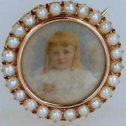 Victorian Child Portrait 18ct Gold Brooch / Pendant Antique Pearl And Hair Locket