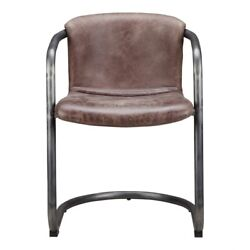 21 W Set Of 2 Dining Chair Modern Industrial Iron Distressed Top Grain Leather