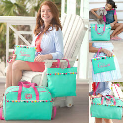 PERSONALIZED EMILY MINT w POM POMS WEEKEND TRAVEL TOTE BAG or ZIP COSMETIC POUCH