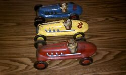 Vintage Original Marx Indy Style Racers Race Cars 1930's40's 12 Inches