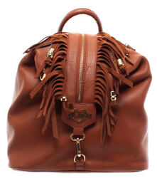 LOVE MOSCHINO Women's Bag Backpack Leather Cuero Logo Gold New