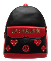 LOVE MOSCHINO Women's Bags Backpack Leather Mix Red Black Logo Gold New