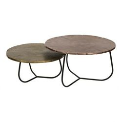 32 W Set Of 2 Occasional Table Black Curved Base Ridged Top Aluminum