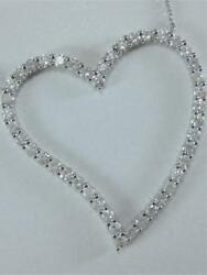 MODERN 3.67CT DIAMOND 14K WHITE GOLD OPEN HANGING LOVERS HEART NECKLACE N58712WP