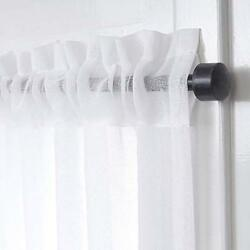 LIFONDER Kitchen White Sheer Curtains - Soft Privacy Protected Rod Pocket Linen