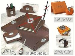 Set Office Wooden And Synthetic Leather Brown 5 Pieces And Oval Silver 925 1260