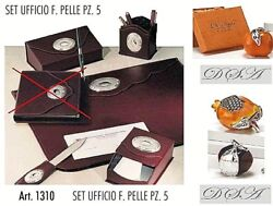 Set Office In Eco Leather With Cutting Mats X 5 Piece With Oval Silver 925 1310