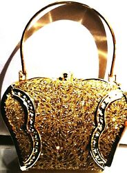 RHINESTONE BEADED & GOLD EVENING BOX BAG CLUCH OR SHOULDER ONE OF A KIND